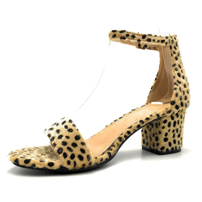 Bella Marie Jean-08 Cheetah Hair Suede Color Heels Left Side view, Women Shoes