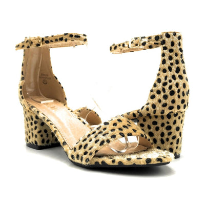 Bella Marie Jean-08 Cheetah Hair Suede Color Heels Both Shoes together, Women Shoes