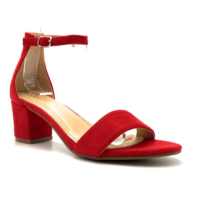 Bella Marie Jean-08 Red Suede Color Heels Right Side View, Women Shoes