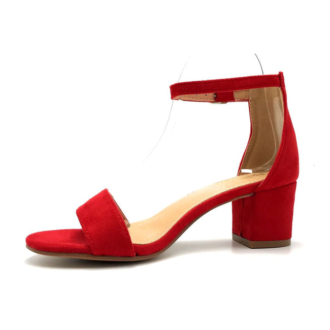 Bella Marie Jean-08 Red Suede Color Heels Left Side view, Women Shoes