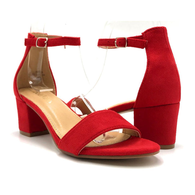 Bella Marie Jean-08 Red Suede Color Heels Both Shoes together, Women Shoes