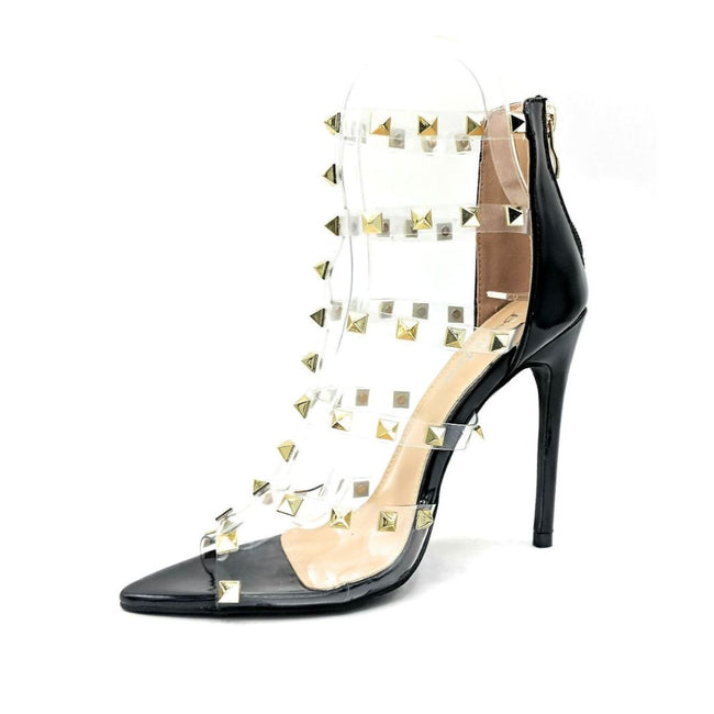 Bella Marie Liam-1 Black Pat Color Heels Left Side view, Women Shoes