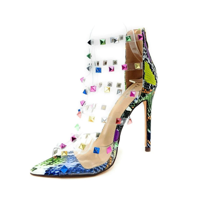 Bella Marie Liam-1 Multi Snake Color Heels Left Side view, Women Shoes