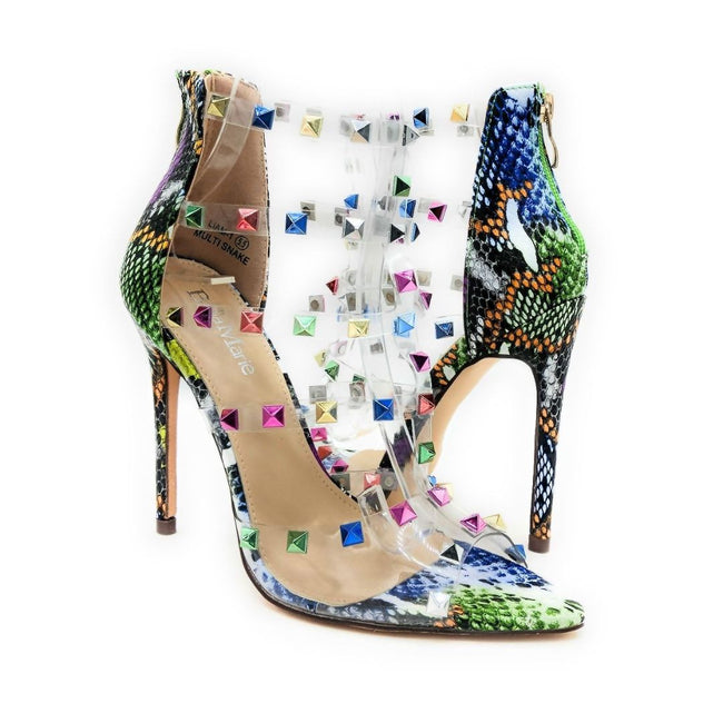Bella Marie Liam-1 Multi Snake Color Heels Both Shoes together, Women Shoes