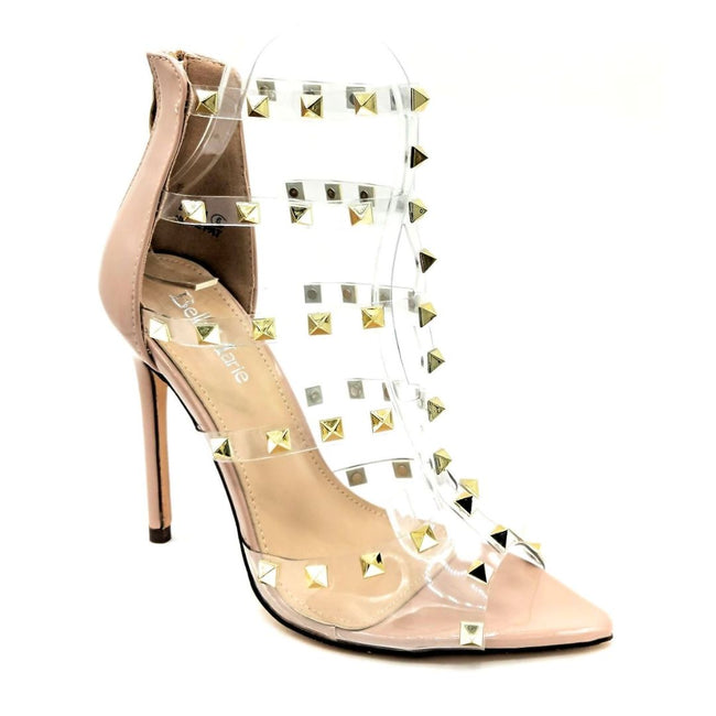 Bella Marie Liam-1 Nude Pat Color Heels Right Side View, Women Shoes