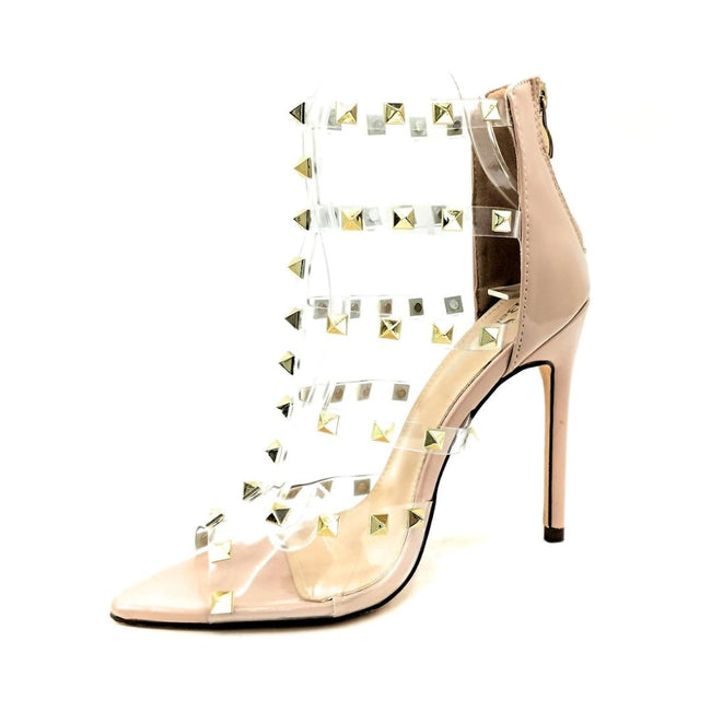 Bella Marie Liam-1 Nude Pat Color Heels Left Side view, Women Shoes