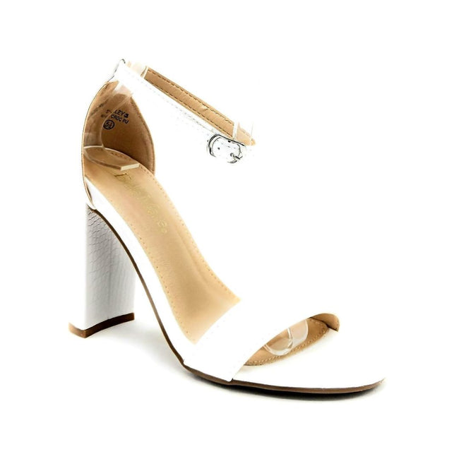 Bella Marie Shirley-2 White Croc PU Color Heels Right Side View, Women Shoes