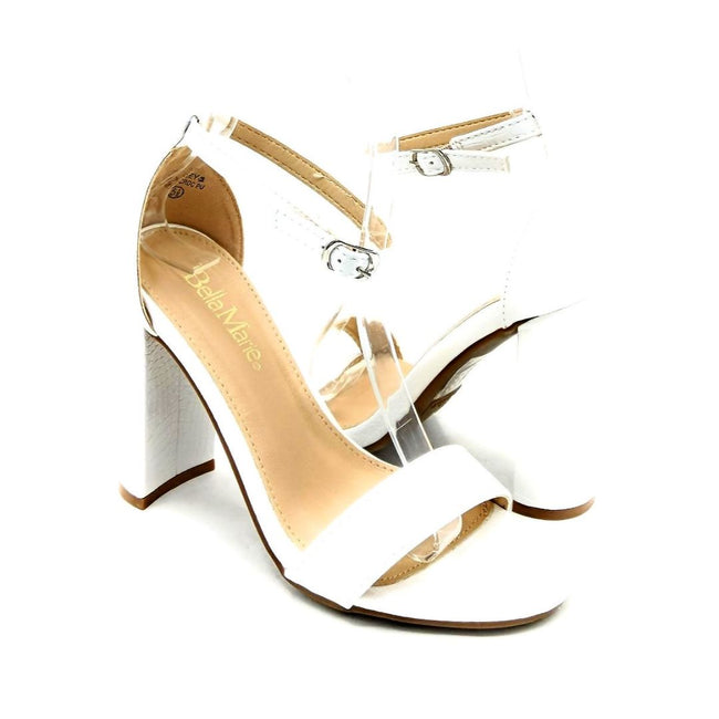 Bella Marie Shirley-2 White Croc PU Color Heels Both Shoes together, Women Shoes