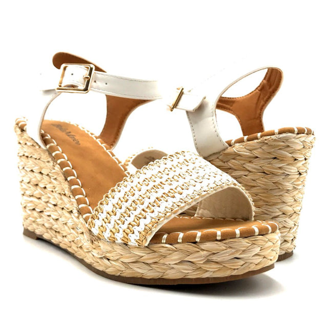 Bella Marie Sunlight-1 White Color Wedge Both Shoes together, Women Shoes