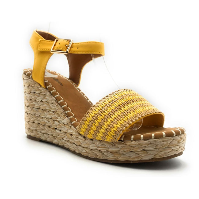 Bella Marie Sunlight-1 Yellow Color Wedge Right Side View, Women Shoes