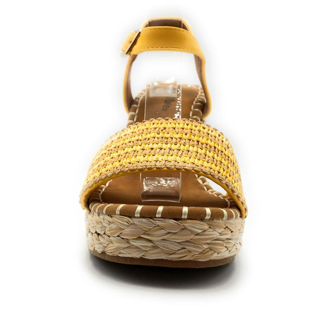 Bella Marie Sunlight-1 Yellow Color Wedge Front View, Women Shoes