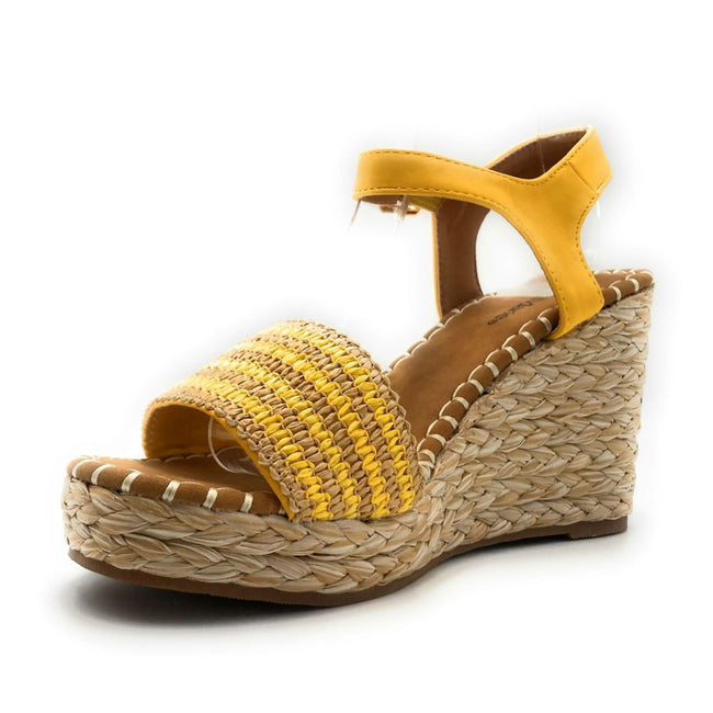 Bella Marie Sunlight-1 Yellow Color Wedge Left Side view, Women Shoes