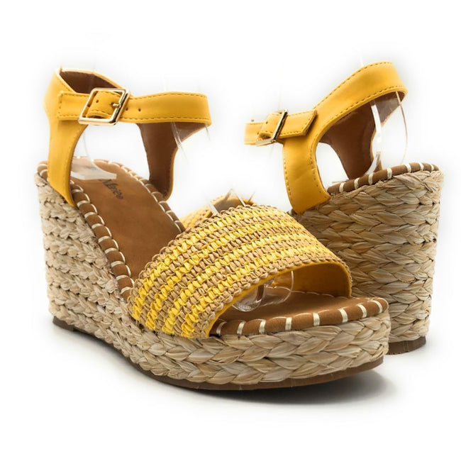 Bella Marie Sunlight-1 Yellow Color Wedge Both Shoes together, Women Shoes