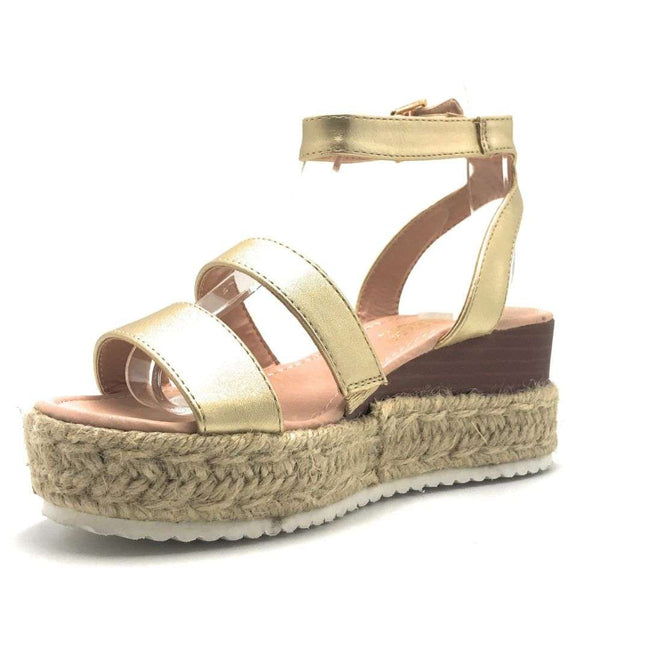 DBDK Celenee-26 Gold Color Wedge Shoes for Women