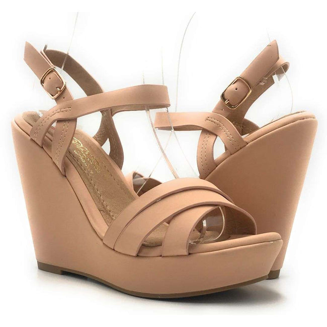 DBDK Loris-3 Nude Color Wedge Shoes for Women
