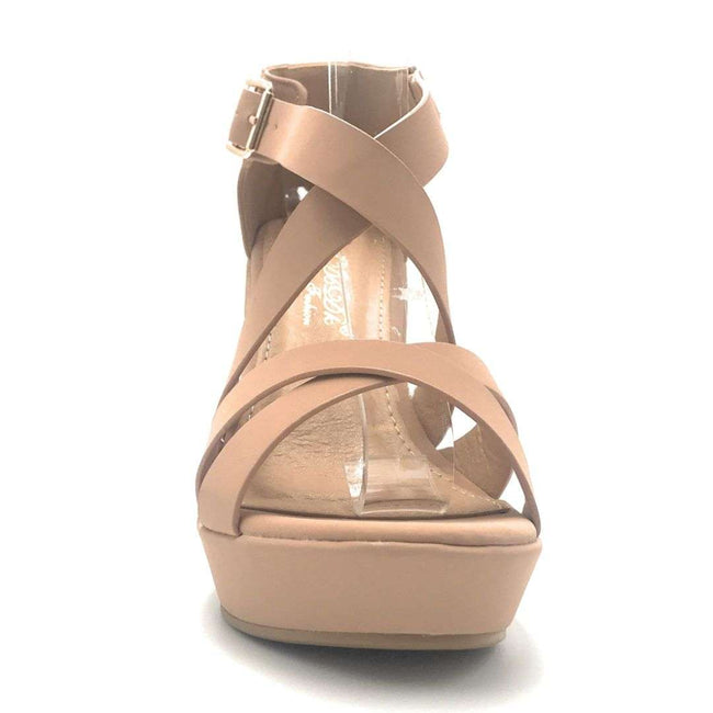 DBDK Sarita-8 Nude Color Wedge Shoes for Women
