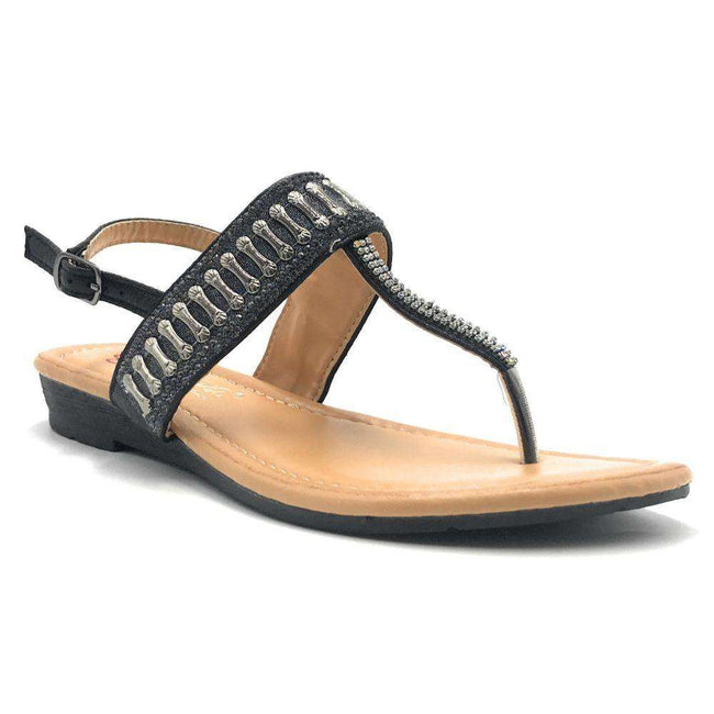 DBDK Sonialy-8 Black Color Flat-Sandals Shoes for Women