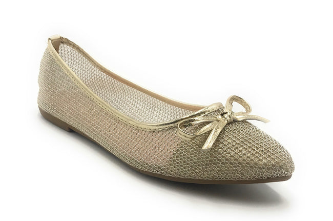 DbDk Dew-1 Gold Color Ballerina Shoes for Women