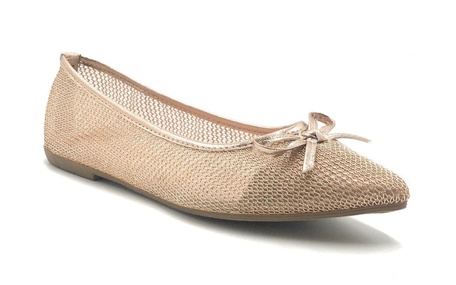 DbDk Dew-1 Rose Gold Color Ballerina Shoes for Women