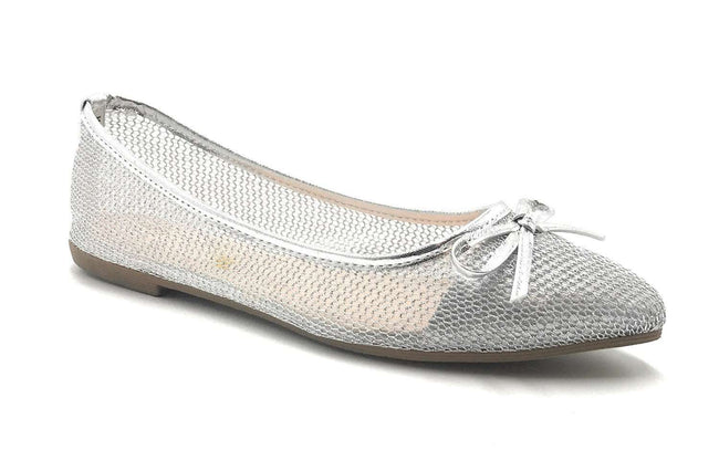 DbDk Dew-1 Silver Color Ballerina Shoes for Women