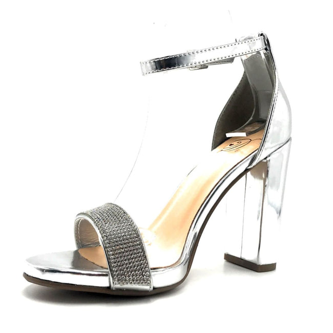 Delicious Laser-s Silver Color Heels Right Side View, Women Shoes
