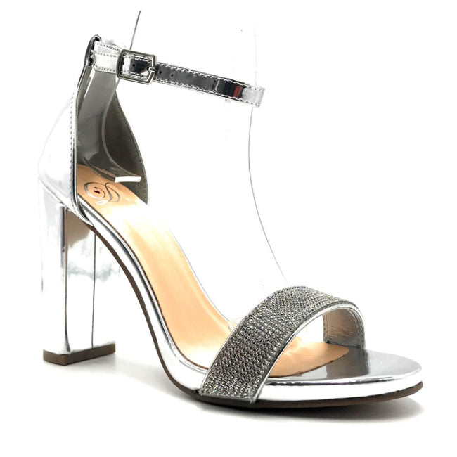 Delicious Laser-s Silver Color Heels Left Side view, Women Shoes