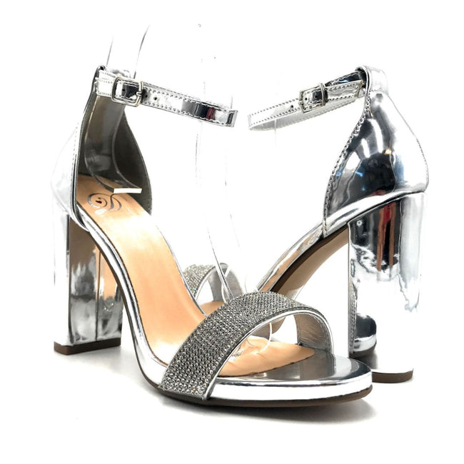 Delicious Laser-s Silver Color Heels Both Shoes together, Women Shoes