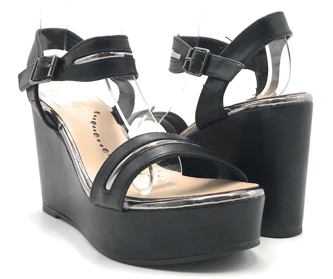 Elegant Collection Nadeen-3 Black Color Wedge Shoes for Women
