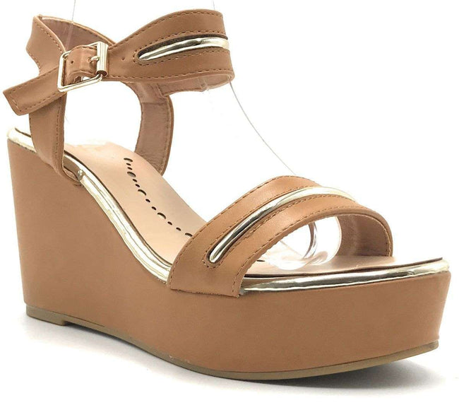 Elegant Collection Nadeen-3 Tan Color Wedge Shoes for Women