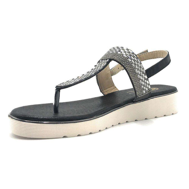 Elegant Collection Wendee-1 Black Color Flat-Sandals Shoes for Women