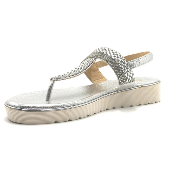 Elegant Collection Wendee-1 Silver Color Flat-Sandals Shoes for Women