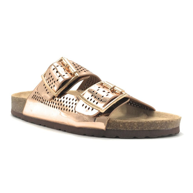 Forever Berk-20 Rose Gold Color Flat-Sandals Shoes for Women
