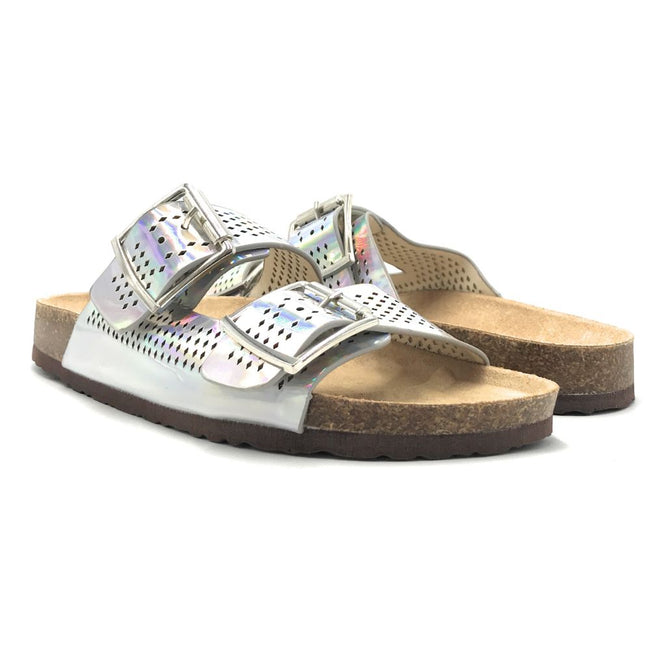 Forever Berk-20 Silver Color Flat-Sandals Shoes for Women