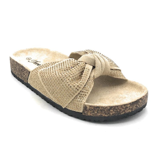 Forever Berk-27 Beige Color Flat-Sandals Right Side View, Women Shoes