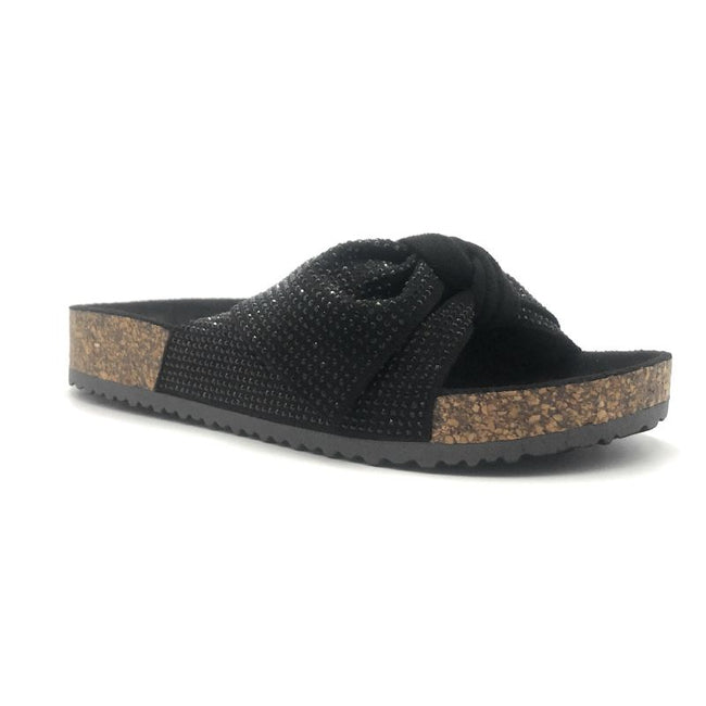 Forever Berk-27 Black Color Flat-Sandals Right Side View, Women Shoes