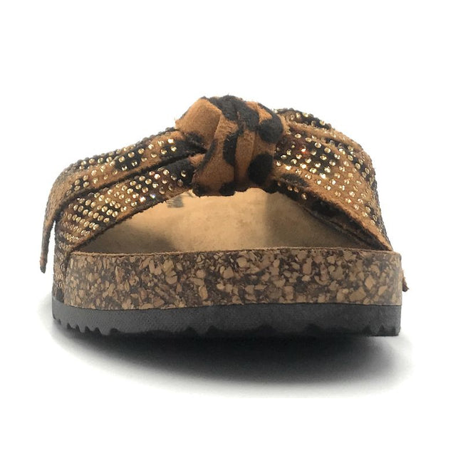 Forever Berk-27 Leopard Color Flat-Sandals Front View, Women Shoes