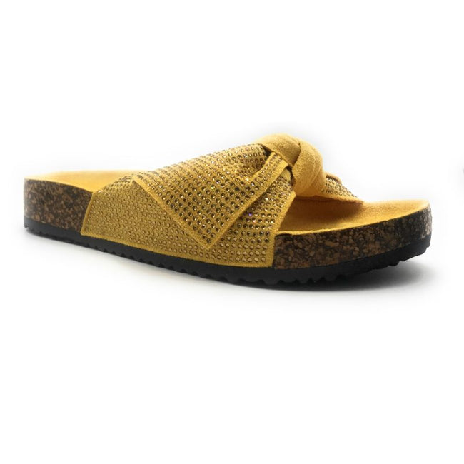 Forever Berk-27 Mustard Color Flat-Sandals Right Side View, Women Shoes