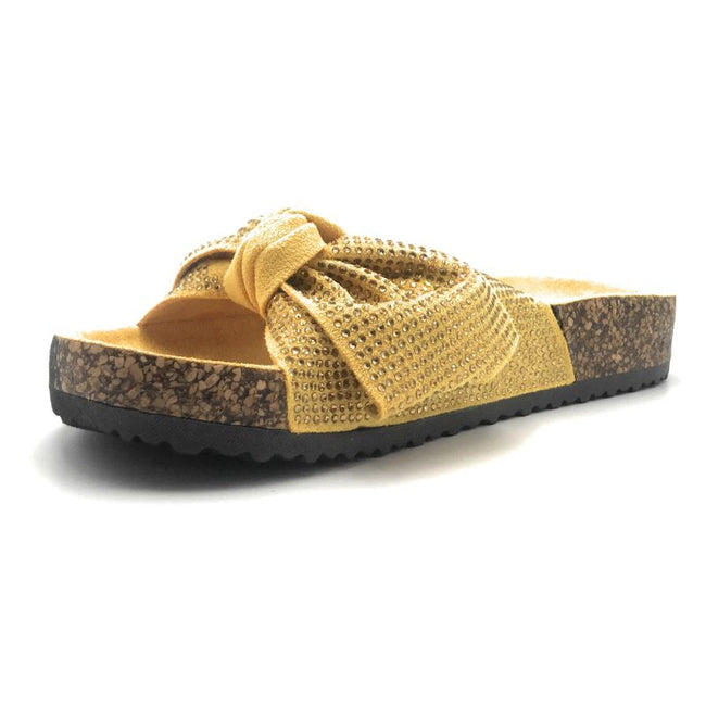 Forever Berk-27 Mustard Color Flat-Sandals Left Side view, Women Shoes