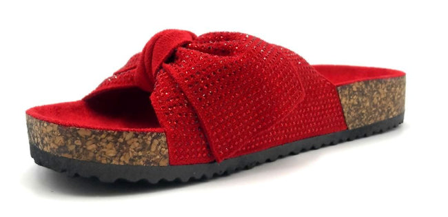 Forever Berk-27 Red Color Flat-Sandals Left Side view, Women Shoes