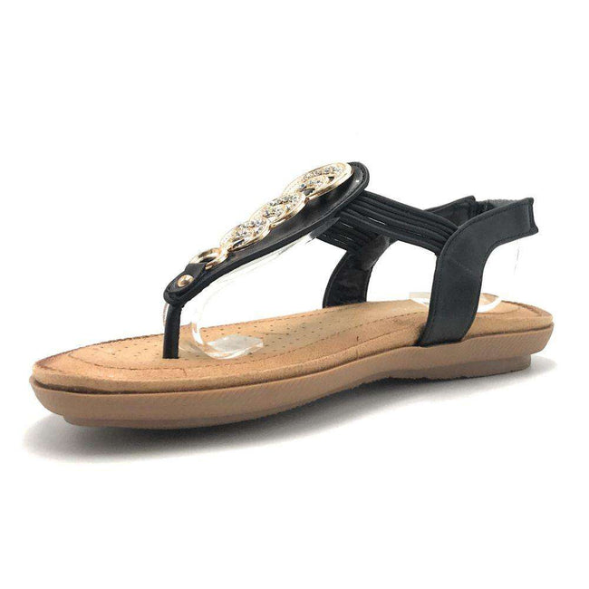 Forever Compas-12 Black Color Flat-Sandals Shoes for Women