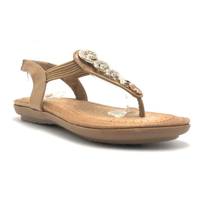 Forever Compas-12 Tan Color Flat-Sandals Shoes for Women