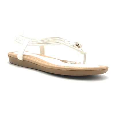 Forever Erita-15 White Color Flat-Sandals Shoes for Women