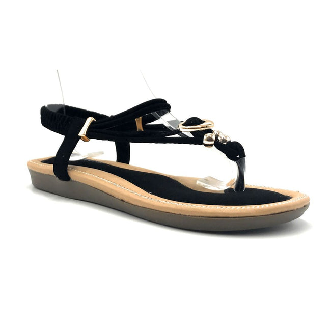 Forever Erita-19 Black Color Flat-Sandals Right Side View, Women Shoes
