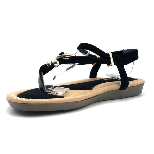Forever Erita-19 Black Color Flat-Sandals Left Side view, Women Shoes
