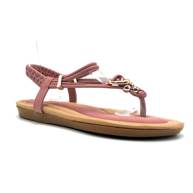 Forever Erita-19 Blush Color Flat-Sandals Right Side View, Women Shoes