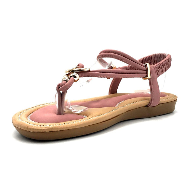 Forever Erita-19 Blush Color Flat-Sandals Left Side view, Women Shoes