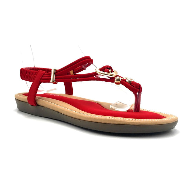 Forever Erita-19 Red Color Flat-Sandals Right Side View, Women Shoes