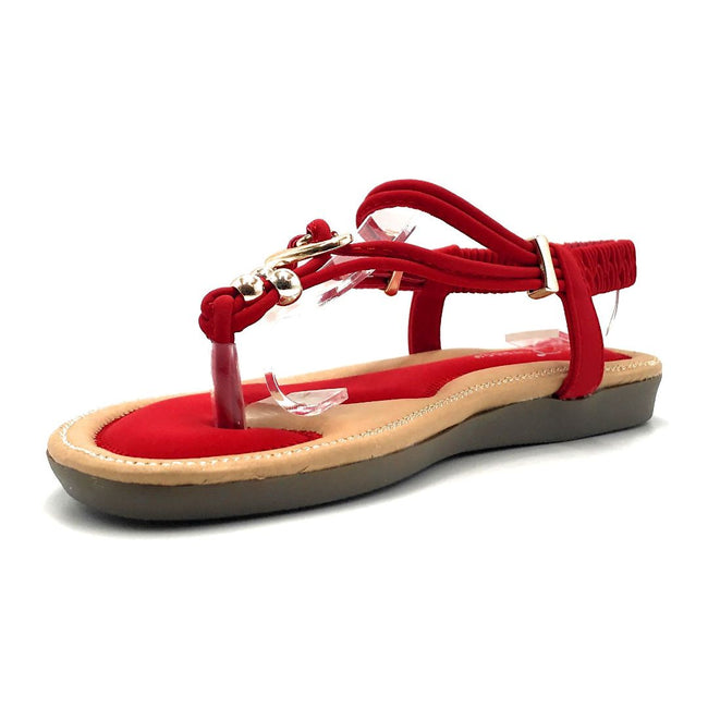 Forever Erita-19 Red Color Flat-Sandals Left Side view, Women Shoes