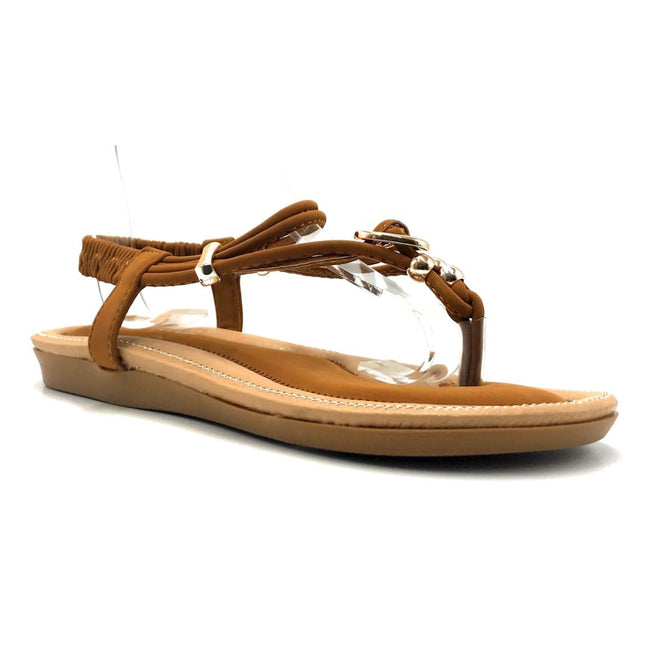 Forever Erita-19 Tan Color Flat-Sandals Right Side View, Women Shoes