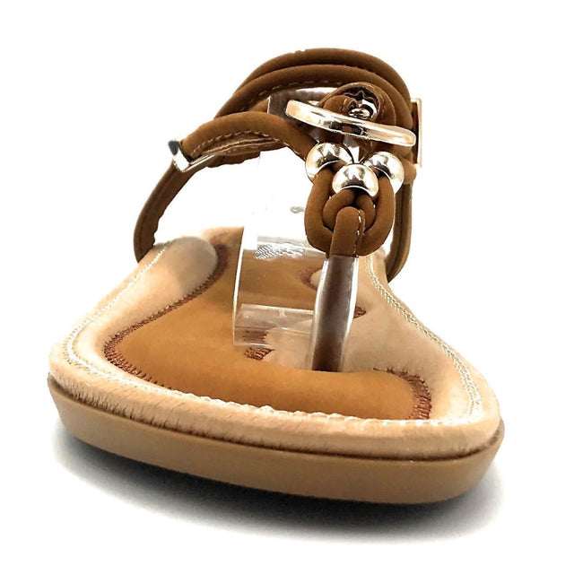 Forever Erita-19 Tan Color Flat-Sandals Front View, Women Shoes